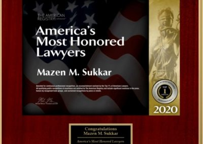 America's Most Honored Lawyers 2020 - Mazen Sukkar