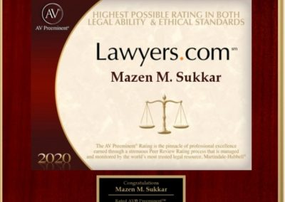 Highest Possible Rating in Legal Ability & Ethical Standards 2020 - Mazen Sukkar